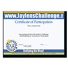 Jaylens Challenge Certificate of Acheivement